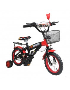 Bicicleta rosie copii cu roti ajutatoare si cos Nr.12